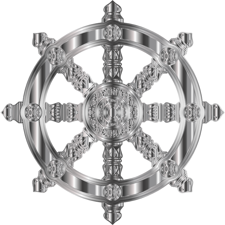 Stainless Steel Ornate Dharma Wheel