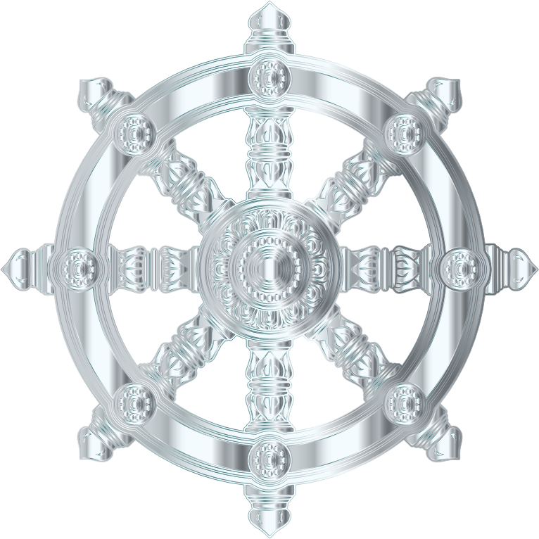 Silver Ornate Dharma Wheel