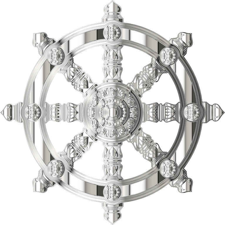 Mirrored Chrome Ornate Dharma Wheel
