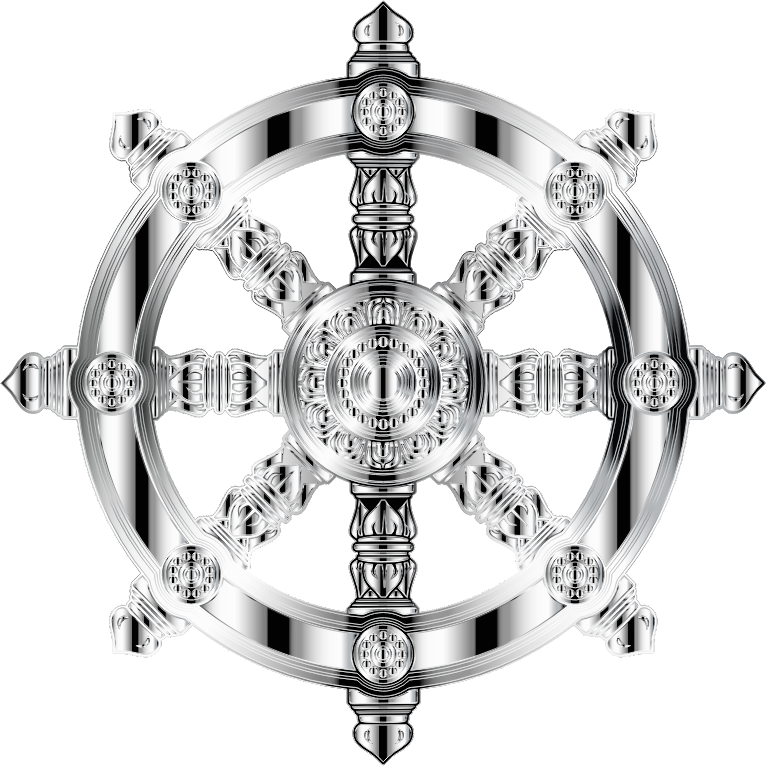 Mirrored Chrome Ornate Dharma Wheel 2