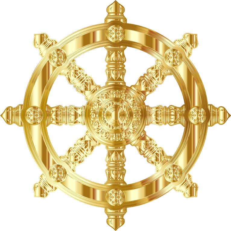 Gold Ornate Dharma Wheel