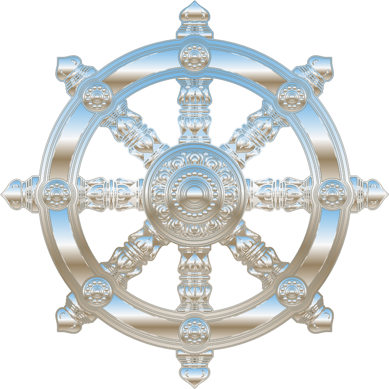 Environment Mapped Chrome Ornate Dharma Wheel