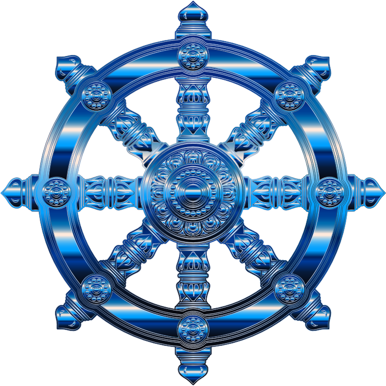 Cobalt Ornate Dharma Wheel