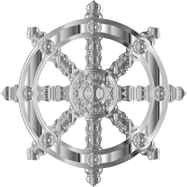 Chrome Ornate Dharma Wheel