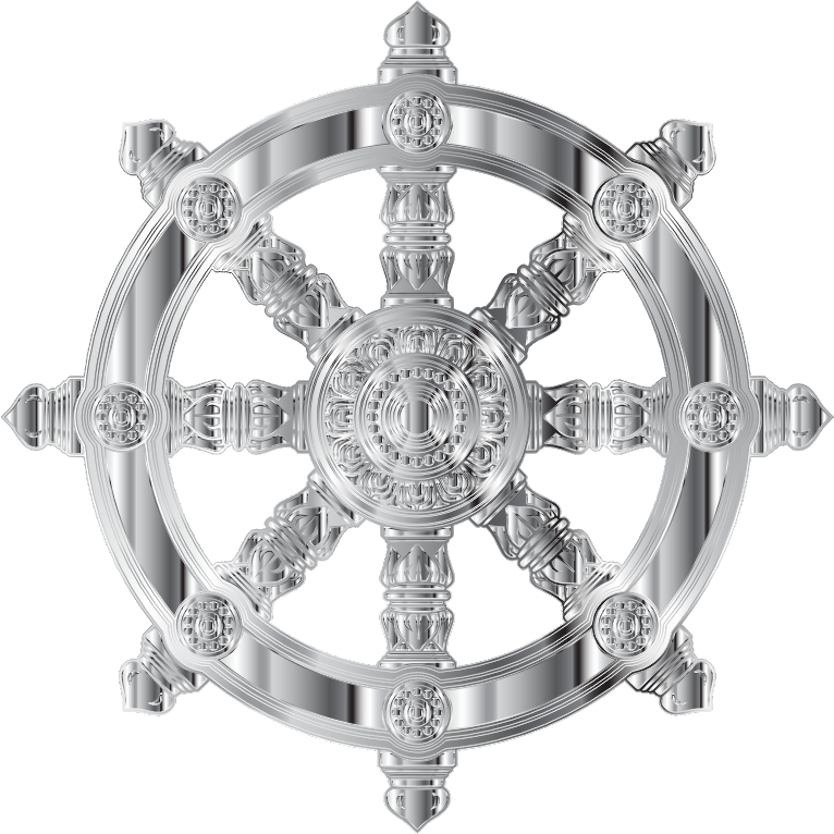 Chrome Ornate Dharma Wheel Variation 2