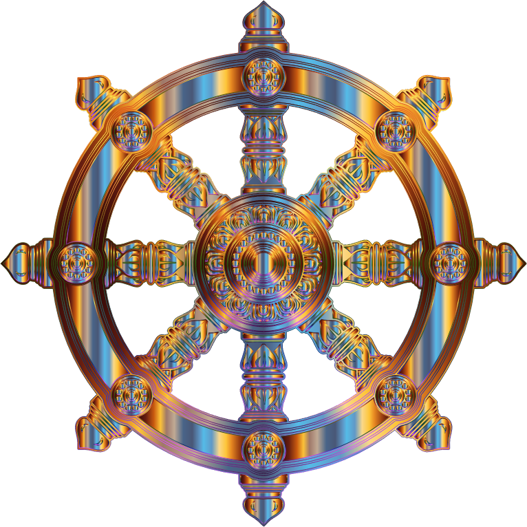 Chromatic Ornate Dharma Wheel