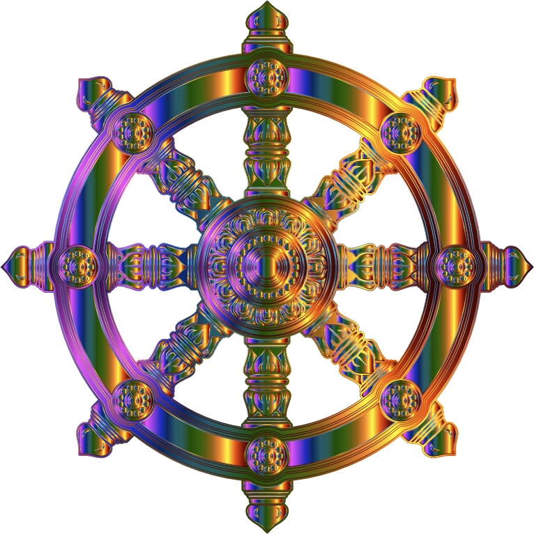 Chromatic Ornate Dharma Wheel 2