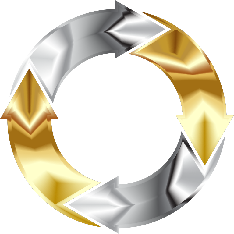Gold And Chrome Circular Arrows