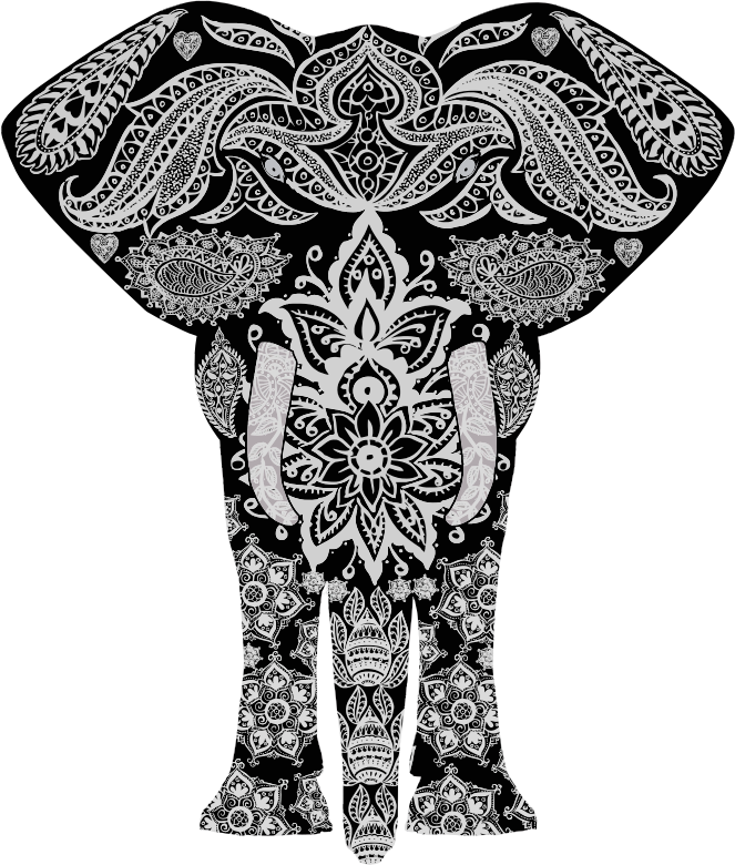Floral Pattern Elephant 2