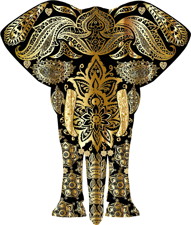 Gold Floral Pattern Elephant