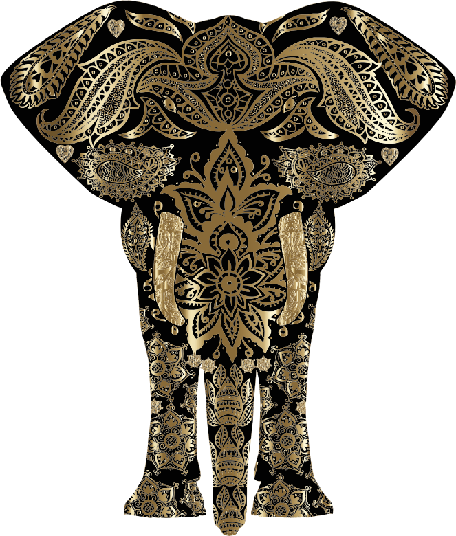Copper Floral Pattern Elephant