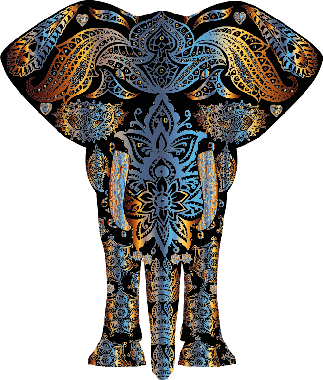 Chromatic Floral Pattern Elephant
