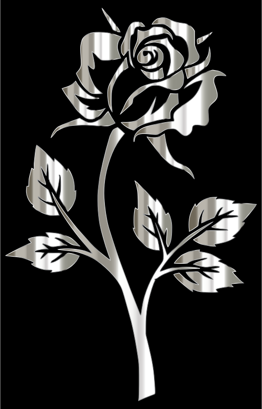 Polished Silver Rose Silhouette