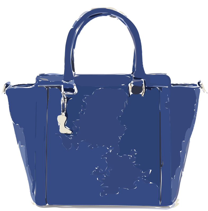 Bluish Purple Leather Handbag without logo