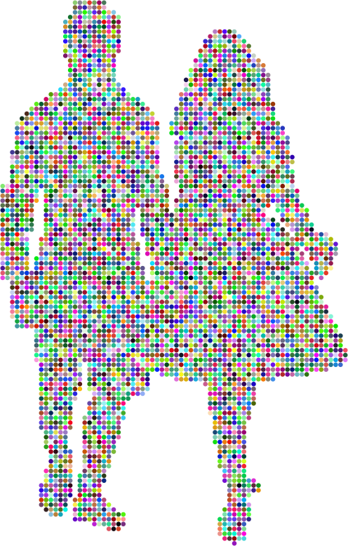 Prismatic Couple Holding Hands Silhouette