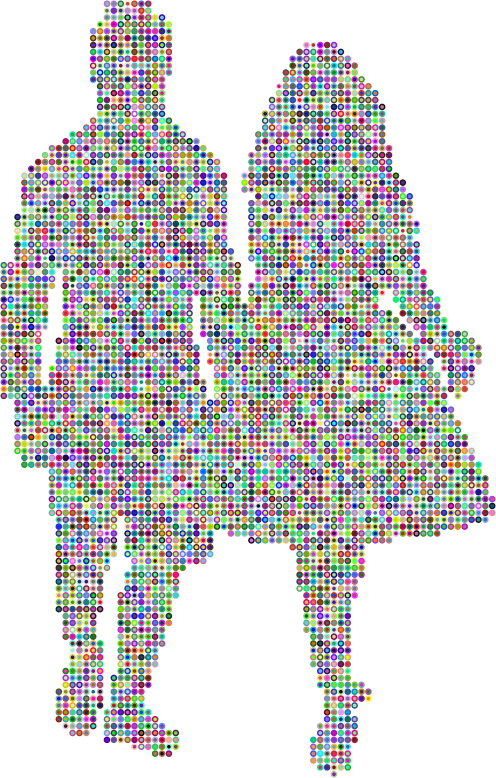 Prismatic Couple Holding Hands Silhouette 2