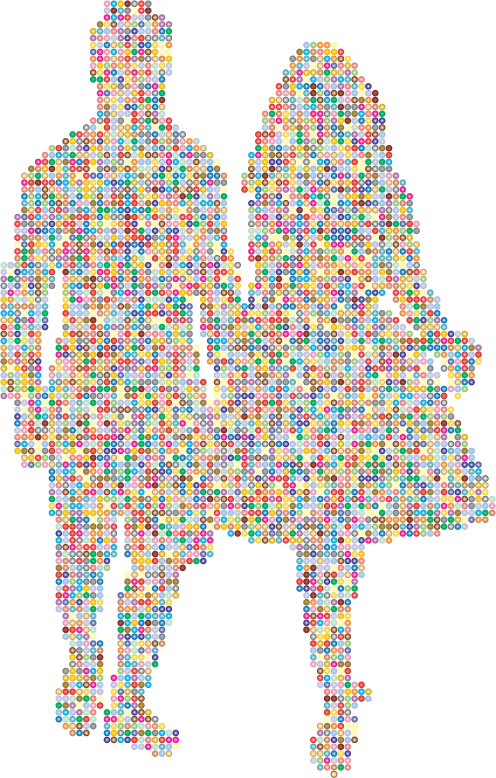 Prismatic Couple Holding Hands Silhouette 3
