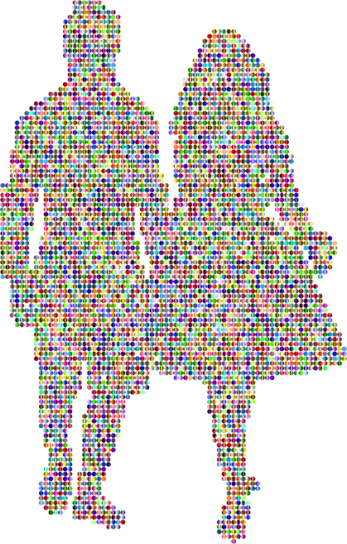 Prismatic Couple Holding Hands Silhouette 4