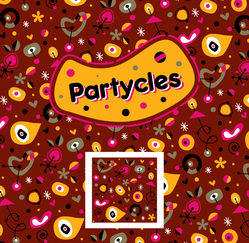'Partycles', Seamless funky retro pattern