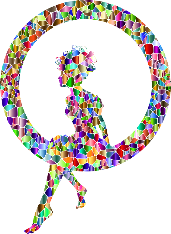 Polychromatic Tiled Fairy Sitting In A Circle Silhouette