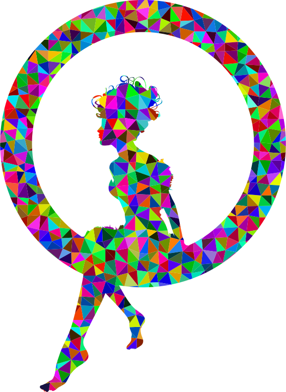 Low Poly Prismatic Fairy Sitting In A Circle Silhouette