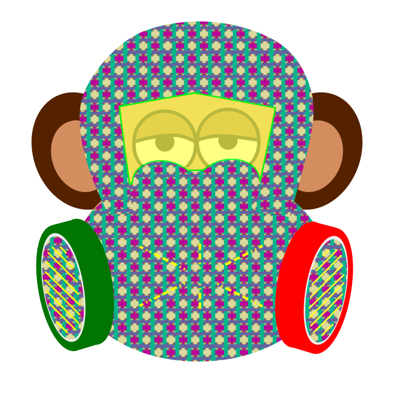 monkey wears gas mask with pattern