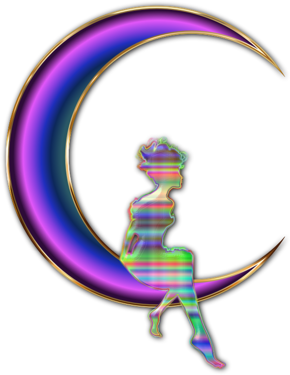Chromatic Fairy Sitting On Crescent Moon Enhanced No Background Plus Drop Shadow