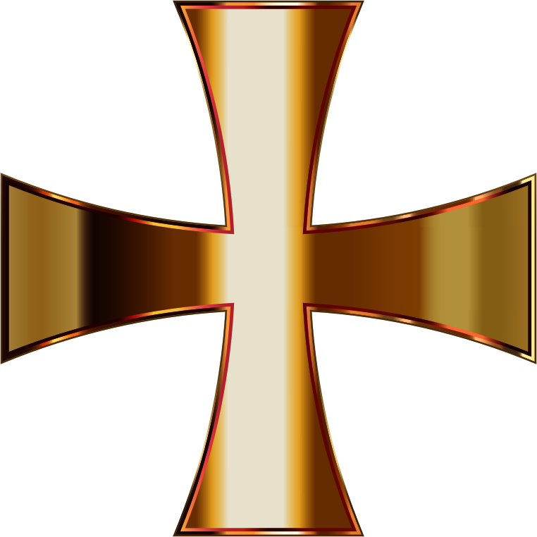 Gold Maltese Cross Enhanced Contrast No Background