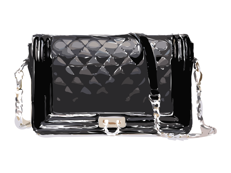 Black Bag with Strap and Clasp