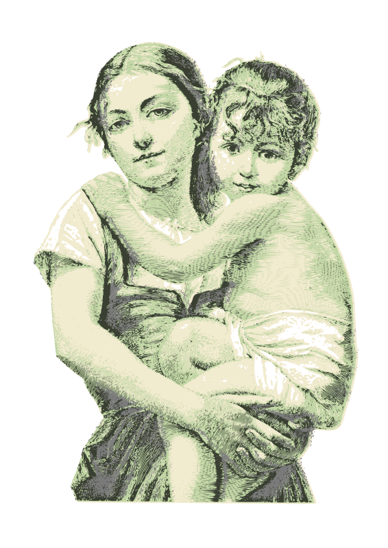 Vintage woman with child 01