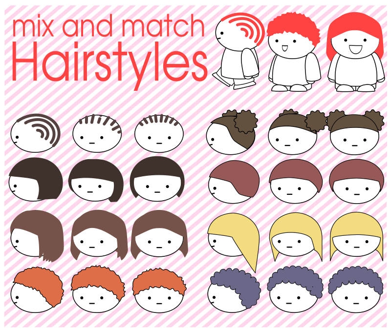 Mix and match hairstyles