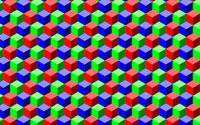 Seamless RGB Isometric Cubes Pattern