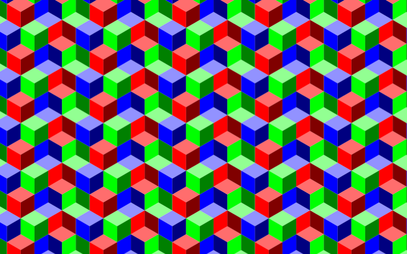 Seamless RGB Isometric Cubes Pattern 2
