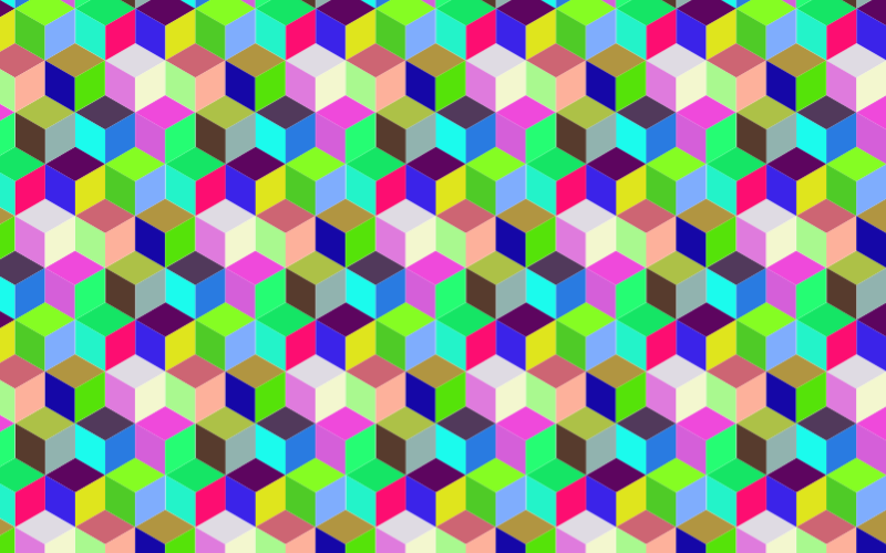 Seamless Prismatic Isometric Cubes Pattern