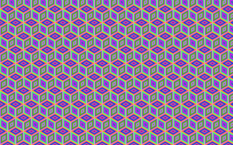 Seamless Prismatic Isometric Cube Pattern