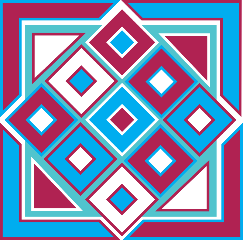 Square Box Design Blue, Red & Aqua