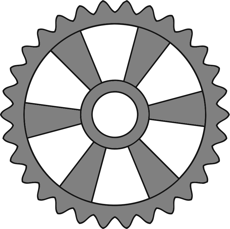 30-tooth gear with radial spokes