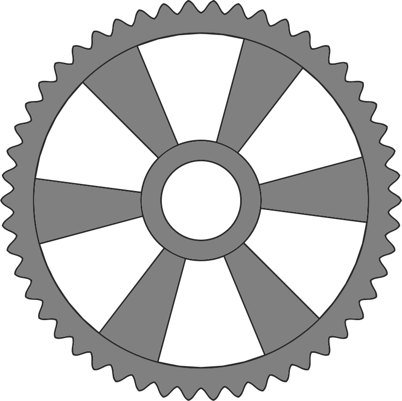 50-tooth gear with radial spokes