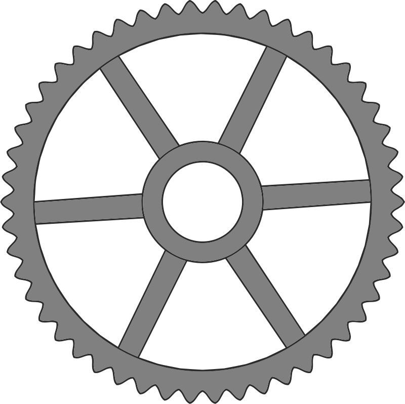 50-tooth gear with trapezium holes