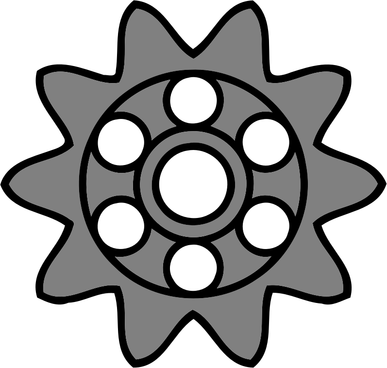 10-tooth gear with circular holes