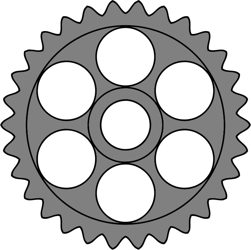 30-tooth gear with circular holes