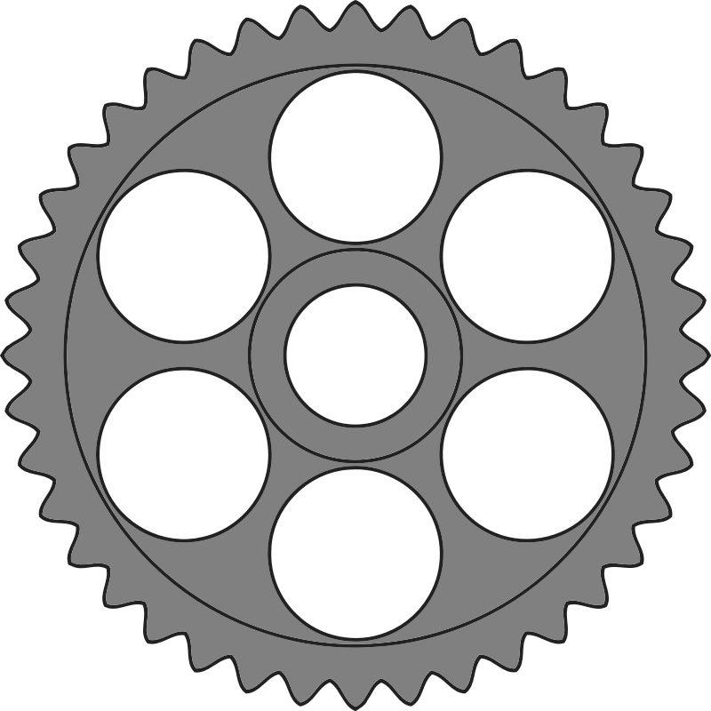 50-tooth gear with circular holes
