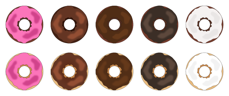 Assorted Plain Frosted Donuts