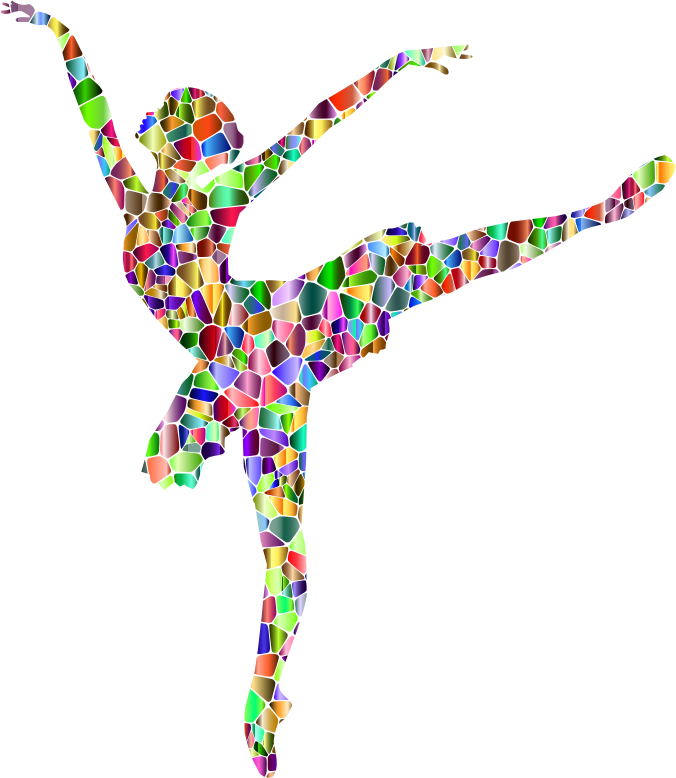 Vivid Chromatic Tiled Graceful Ballerina Silhouette