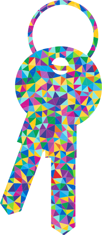 Low Poly Prismatic Keys Silhouette