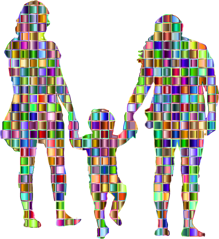 Chromatic Mosaic Squares Family With A Child In The Middle Silhouette