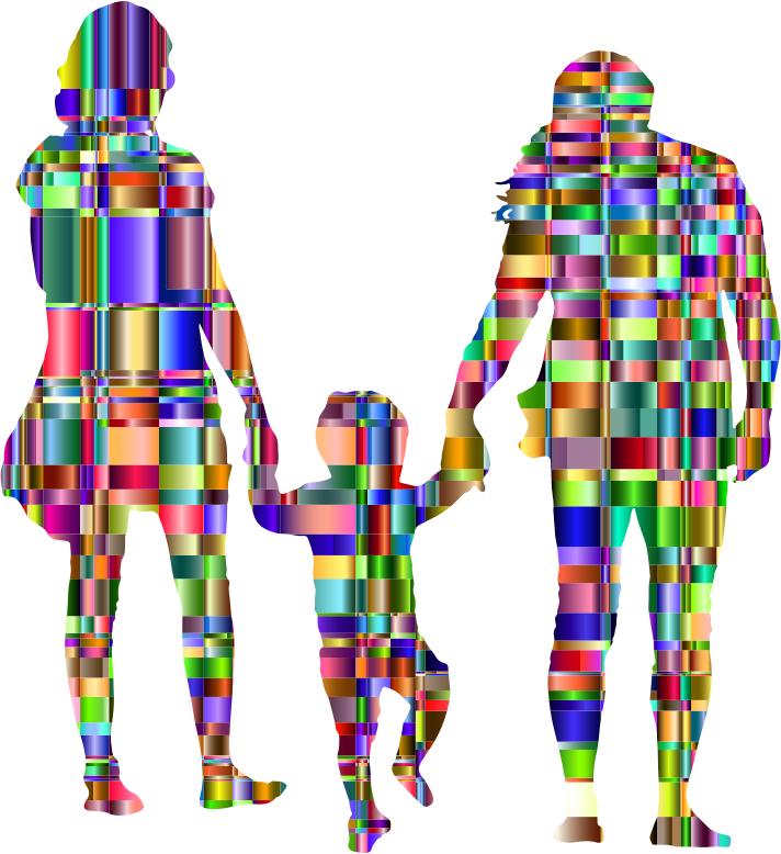 Chromatic Checkered Family With A Child In The Middle Silhouette