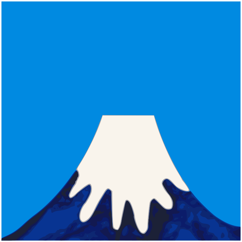 Painted Mount Fuji- simplified and traced