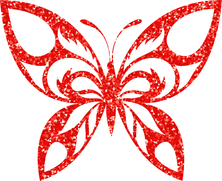 Ruby High Detail Tribal Butterfly Silhouette
