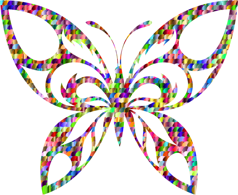 Chromatic Scales Tribal Butterfly Silhouette